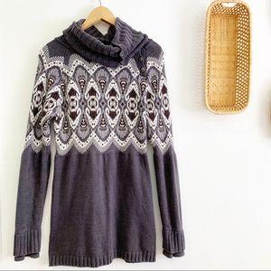 Athleta Fair Isle Turtleneck Sweater Angora Cotton